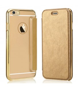 Folio Flip Transparent Housse en cuir pour iPhone - Gold