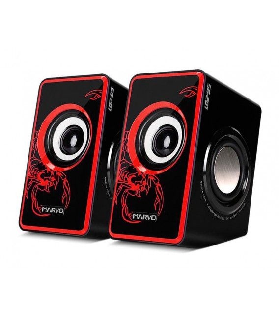 Haut-parleur MARVO SG-201 USB Multimédia Stéréo 3D avec Surround Subwoofer Heavy Bass