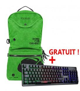 """Marvo BA-001 Sac à dos pour ordinateur portable Gamer (jusqu'à 15.6"""") avec Clavier Gamer offert  - Vert"""