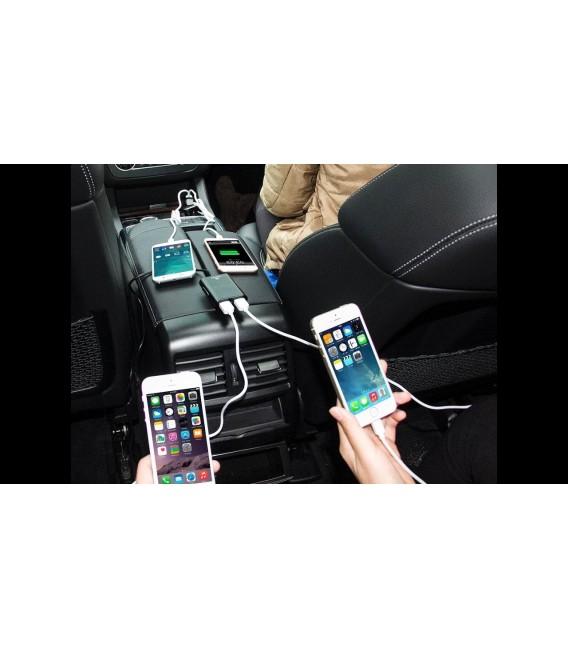 Chargeur de voiture avec 4 ports USB 2.4A - 2 ports USB pour siège avant et 2 ports siège arrière