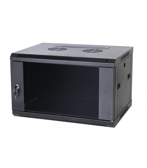 Coffret reseau Metallique 6U 550x350 Noir avec Etagere