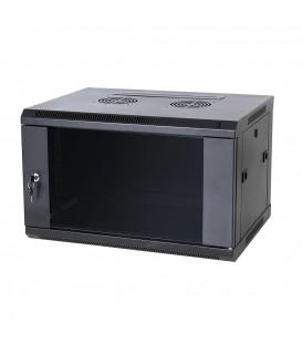Coffret réseau métallique 6U 550x350 Noir avec étagère