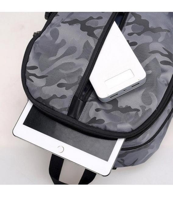 Sac à Dos Pour Ordinateur Portable USB Charge, Élégant  Camouflage Style-Noir
