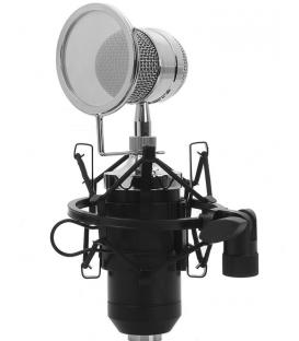Microphone A Condensateur Unidirectionnel BM 8000S Noir, avec un Amortisseur Métal et Carte Son USB