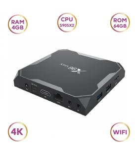 TV Box x96max Fil 4K  avec Processeur  Amlogic S905X2 4 GB 64 GB Réseau WiFi avec Télécommande Infrarouge.