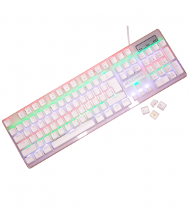 Clavier Mécanique White Switch pour Gamers avec Rainbow Backlit - Blanc