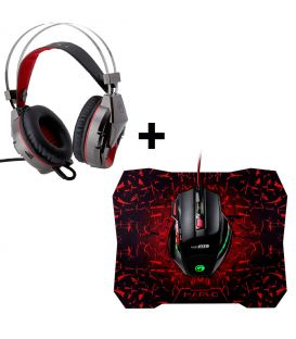 Pack Souris Gamer Marvo Scorpion M315 avec 7 boutons, Casque Stereo Game et Tapis anti-dérapante