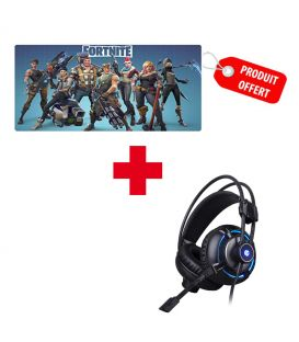Pack Casque Gamer Stéréo 7.1 (3,5mm) HP H300 et Tapis de Souris Fortnite, Extra Large Gaming Offert