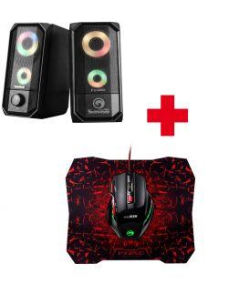 Pack Haut-parleurs Gamer Stereo MARVO SG-265 Rétro-éclairé, Souris marvo 7 boutons et tapis anti-dérapante