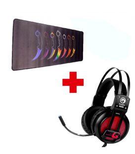 Pack Casque Stéréo Gaming HG9028 avec Microphone et Tapis de Souris Gaming