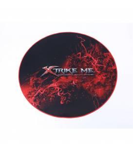 Tapis Rond pour Chaise Gaming 36x36 Xtrike GX01 avec Tissu Ondulé en Microfibre, Noir et Rouge