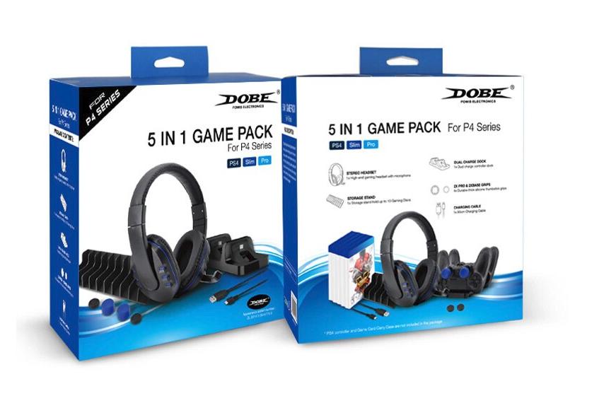 Pack 5 en 1 avec Micro-Casque Stéréo pour PS, Double dock de charge