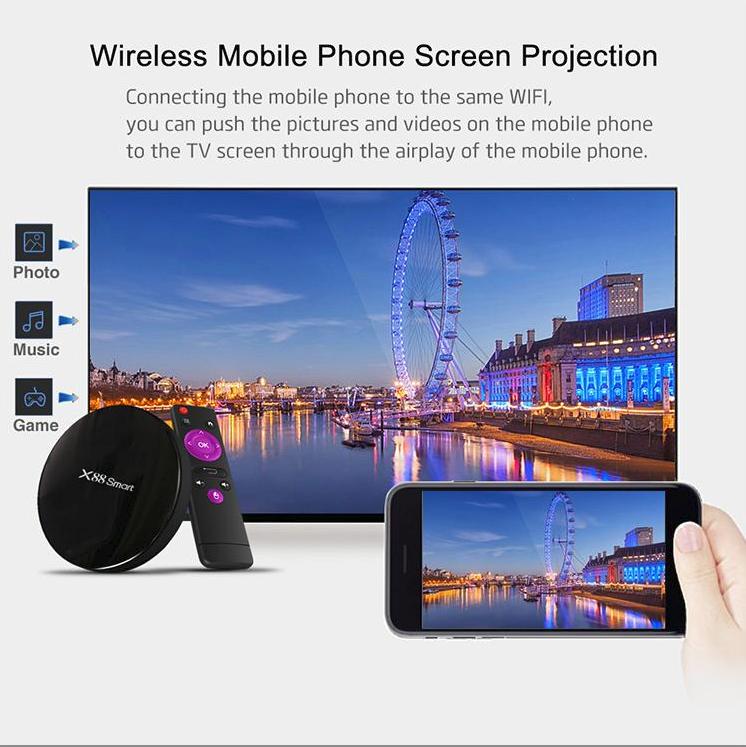 TV Box X88 Smart Android 9.0, avec 4 Go de RAM + 32 Go de ROM,Noir avec Prise EU