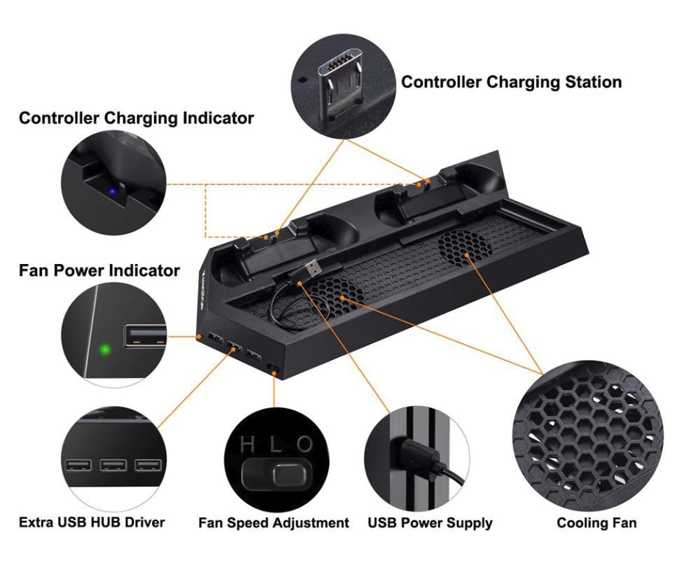 Double Station de Charge pour 2 Manette PS4 avec Ventilateur