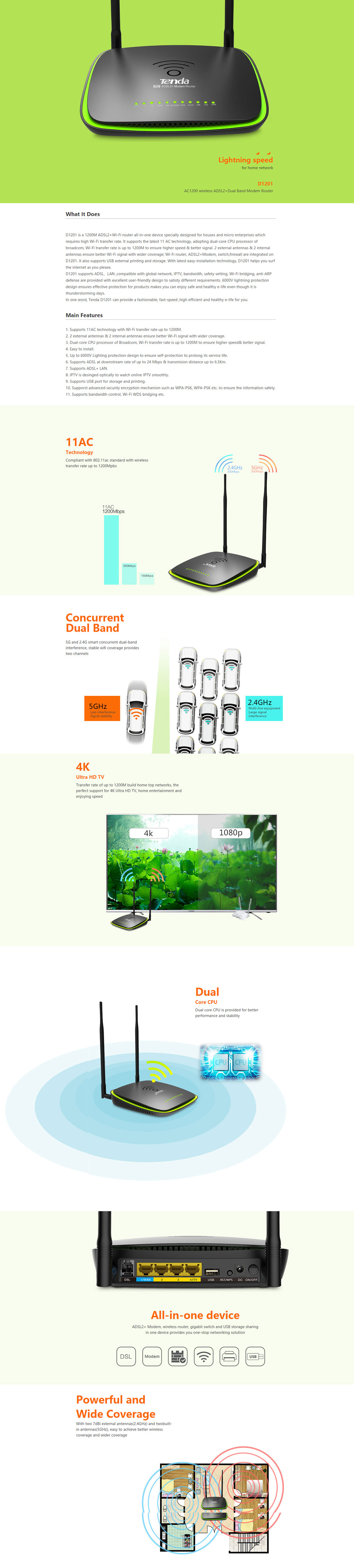 Tenda D1201 Routeur ADSL Wi-Fi High Power AC1200