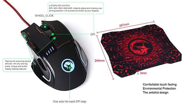 Souris Marvo G909+G1 gamer avec tapis