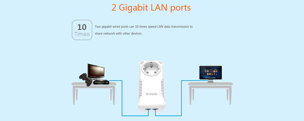 Tenda P1002P AV1000 avec 2 ports Gigabit Powerline